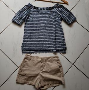 OUTFIT Ralph Lauren Linen Top NY&Co Khaki Shorts